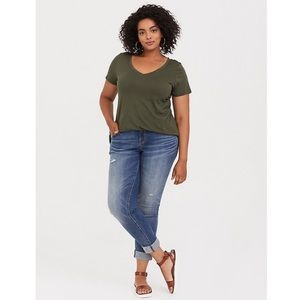 New Torrid Olive Green Classic Fit Girlfriend Tee